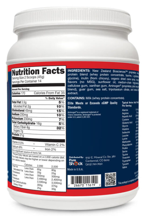 Elite - Vanilla - Supplement Facts