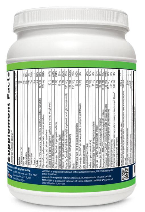 Vegan - Vanilla - Supplement Facts